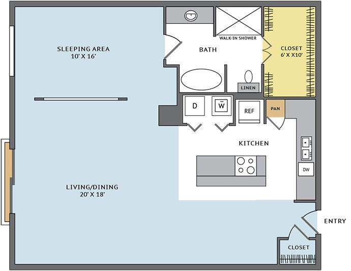 1,053 sq. ft. 11N floor plan