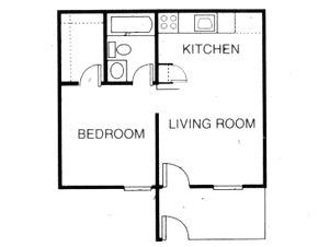 418 sq. ft. A1 floor plan