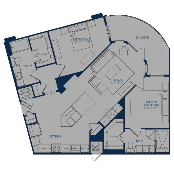 1,217 sq. ft. B-1C36B floor plan