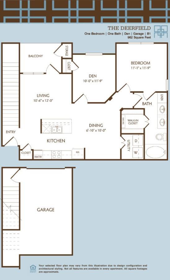 875 sq. ft. to 962 sq. ft. B1/DEERFIELD floor plan