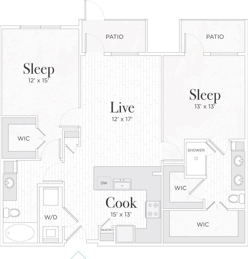 1,123 sq. ft. Matteo I floor plan