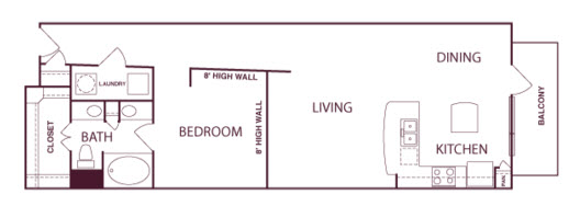 922 sq. ft. A3A floor plan