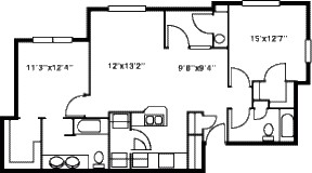 1,000 sq. ft. B/80% floor plan