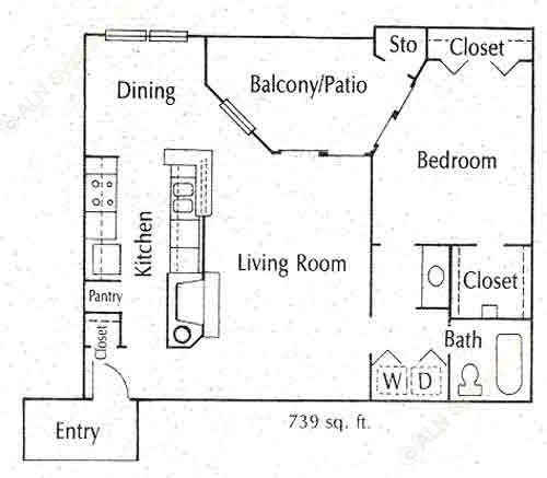 739 sq. ft. 11C floor plan