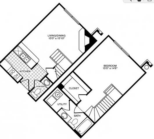 808 sq. ft. floor plan