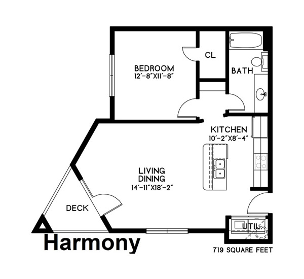 719 sq. ft. Harmony floor plan