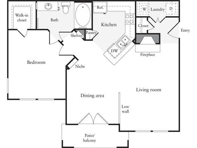 779 sq. ft. A6 floor plan