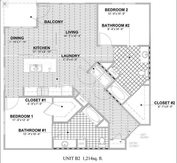 1,214 sq. ft. B2 floor plan