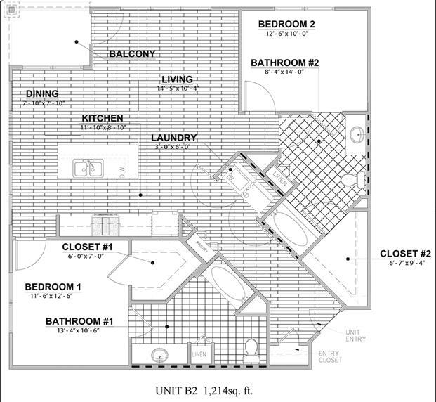 1,214 sq. ft. B2 floor plan