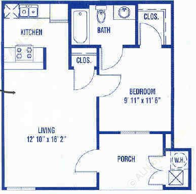 506 sq. ft. A floor plan