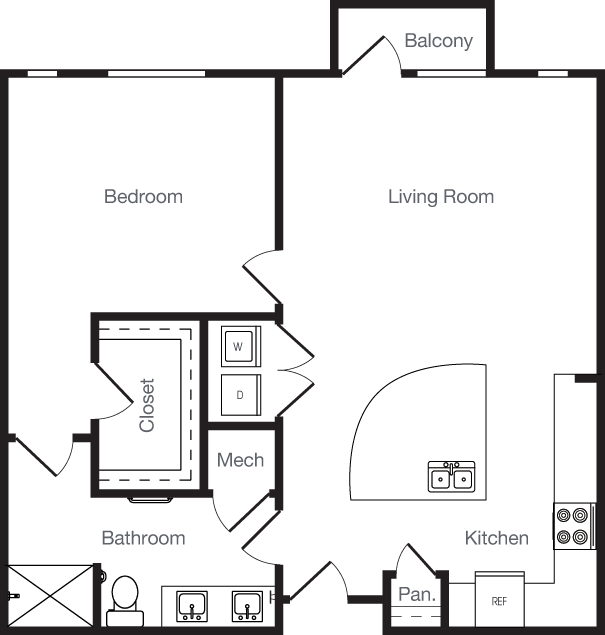 843 sq. ft. 1E floor plan