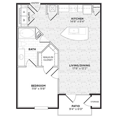 725 sq. ft. A3A floor plan