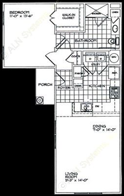 762 sq. ft. A1 floor plan