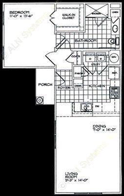 762 sq. ft. A1 floor plan