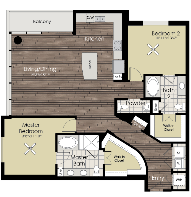 1,560 sq. ft. B8 floor plan