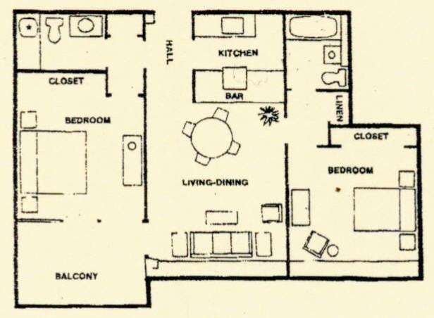 827 sq. ft. floor plan