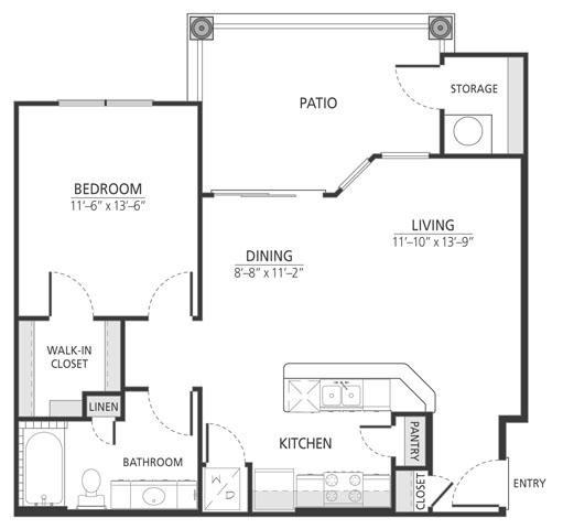 776 sq. ft. A2 floor plan
