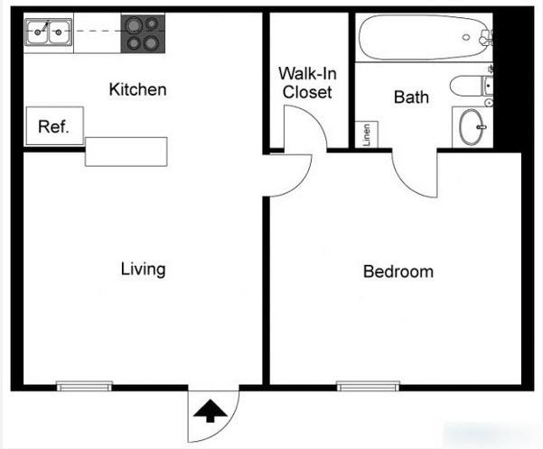 550 sq. ft. to 750 sq. ft. floor plan