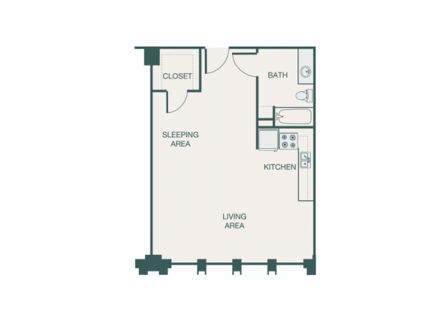 583 sq. ft. H/H1A floor plan
