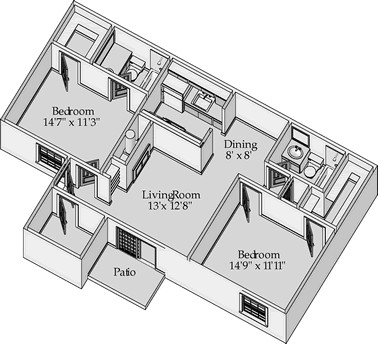 931 sq. ft. Arlington floor plan