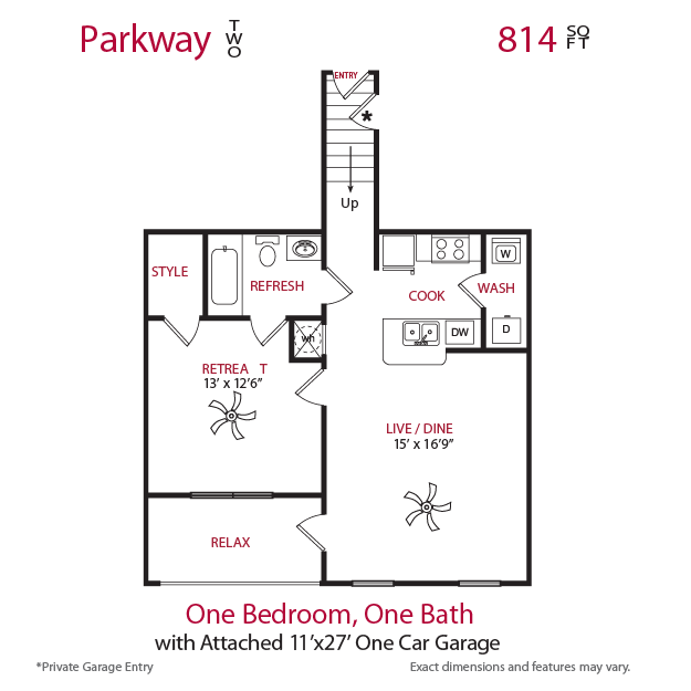 814 sq. ft. Parkway 2 floor plan