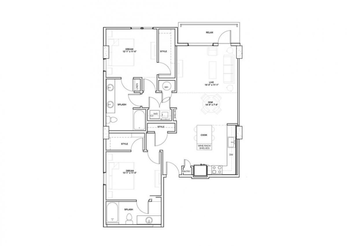 1,238 sq. ft. Cuban floor plan