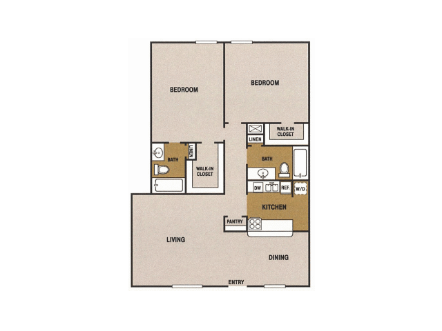 1,250 sq. ft. Q floor plan