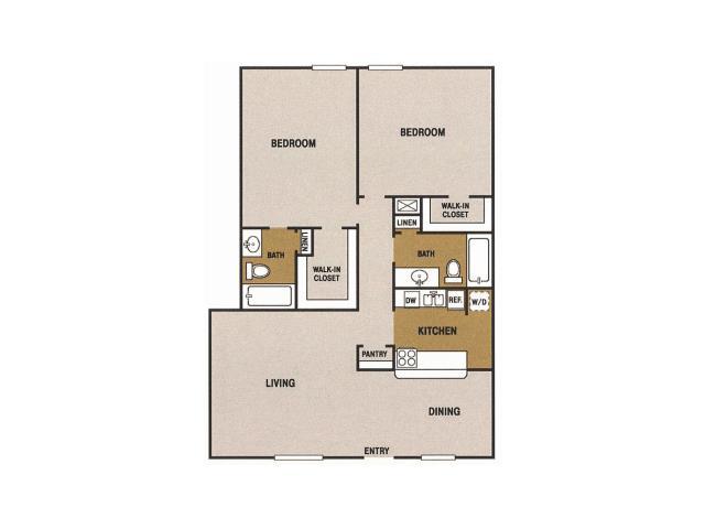 1,250 sq. ft. Q floor plan