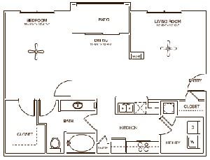 852 sq. ft. NEWPORT floor plan