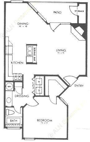 777 sq. ft. A floor plan