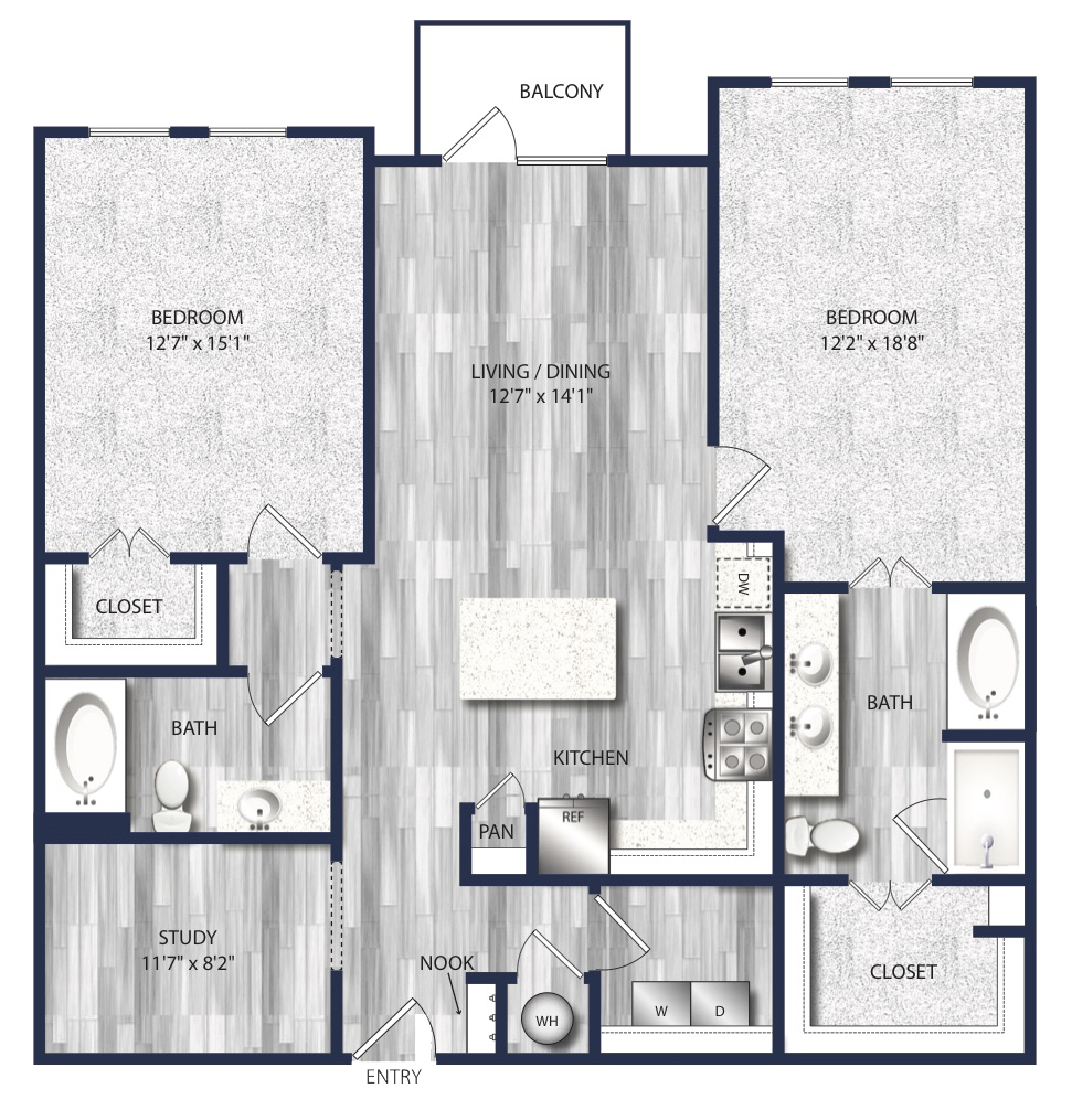 1,233 sq. ft. to 1,361 sq. ft. B4 floor plan