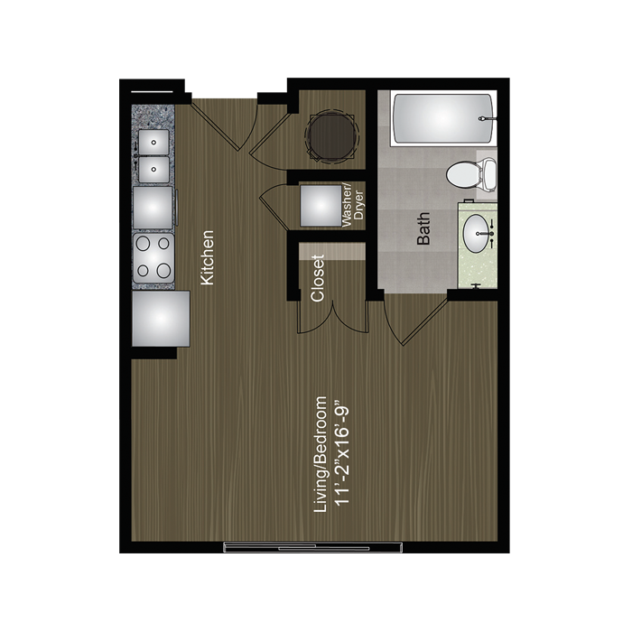 382 sq. ft. Zilker floor plan