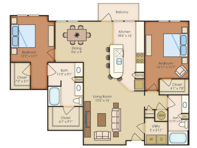 1,414 sq. ft. B2H floor plan