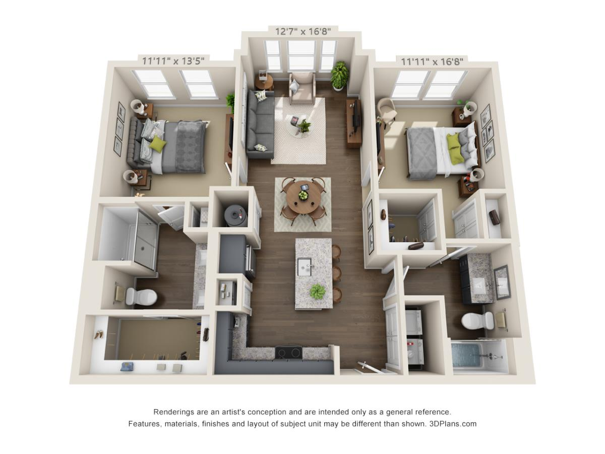 855 sq. ft. A5BA floor plan