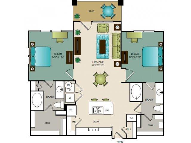 1,138 sq. ft. B1 floor plan