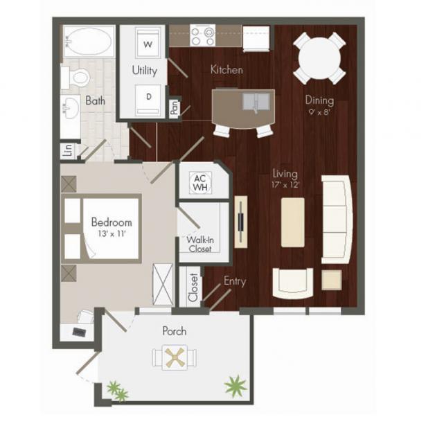 783 sq. ft. Kingsland floor plan