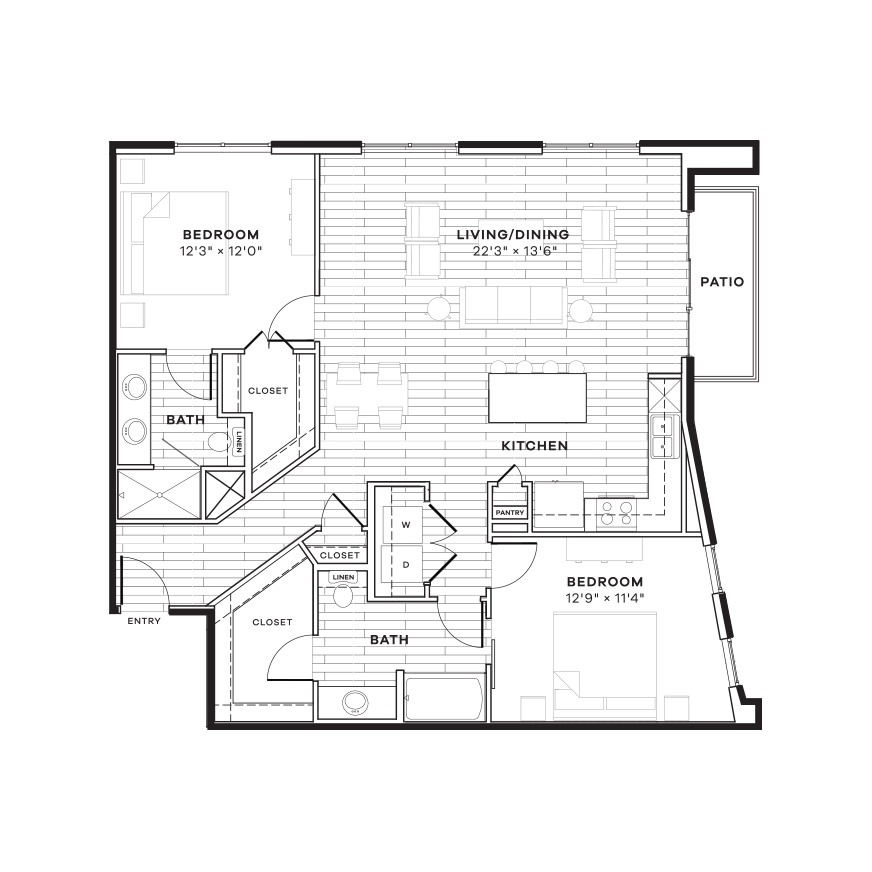 1,301 sq. ft. 2D floor plan