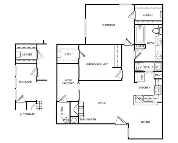 924 sq. ft. Plan B1A floor plan