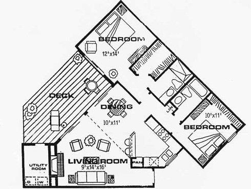 1,079 sq. ft. CP floor plan