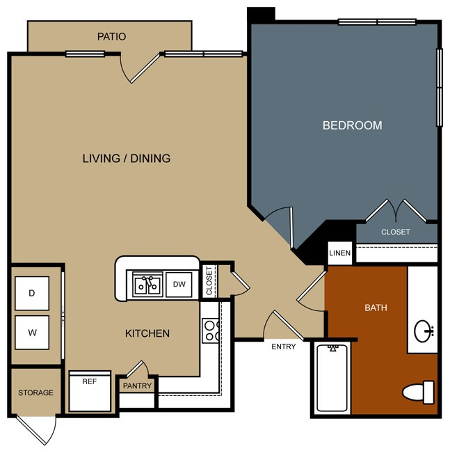 768 sq. ft. A2/60% floor plan