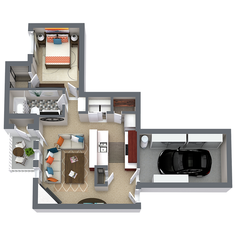 789 sq. ft. A3 floor plan