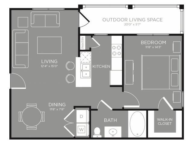 726 sq. ft. Jasmine floor plan