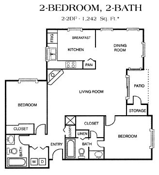 1,242 sq. ft. 2-2DF floor plan