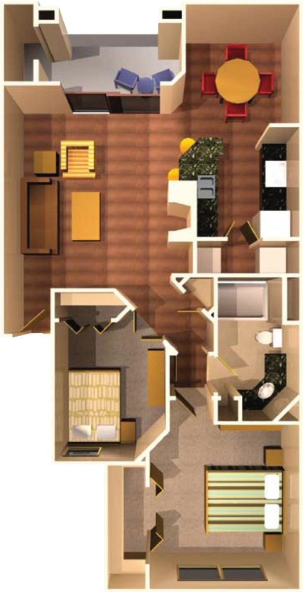 894 sq. ft. A8 floor plan