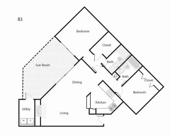 1,042 sq. ft. B3 floor plan