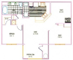 926 sq. ft. A4 floor plan
