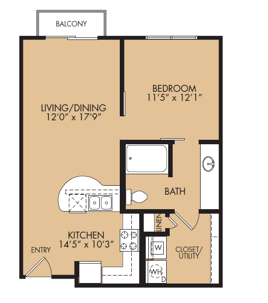 673 sq. ft. A1-Classic floor plan