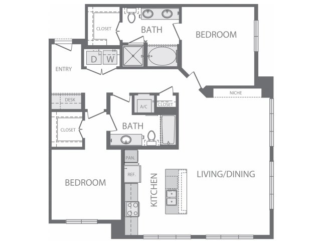 1,299 sq. ft. N floor plan