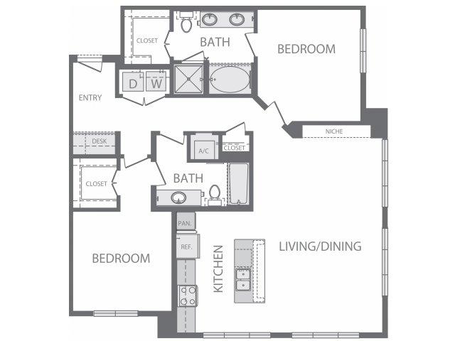 1,299 sq. ft. N floor plan