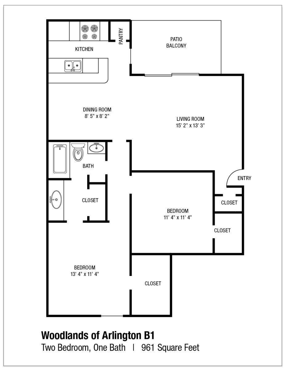 961 sq. ft. B1 floor plan